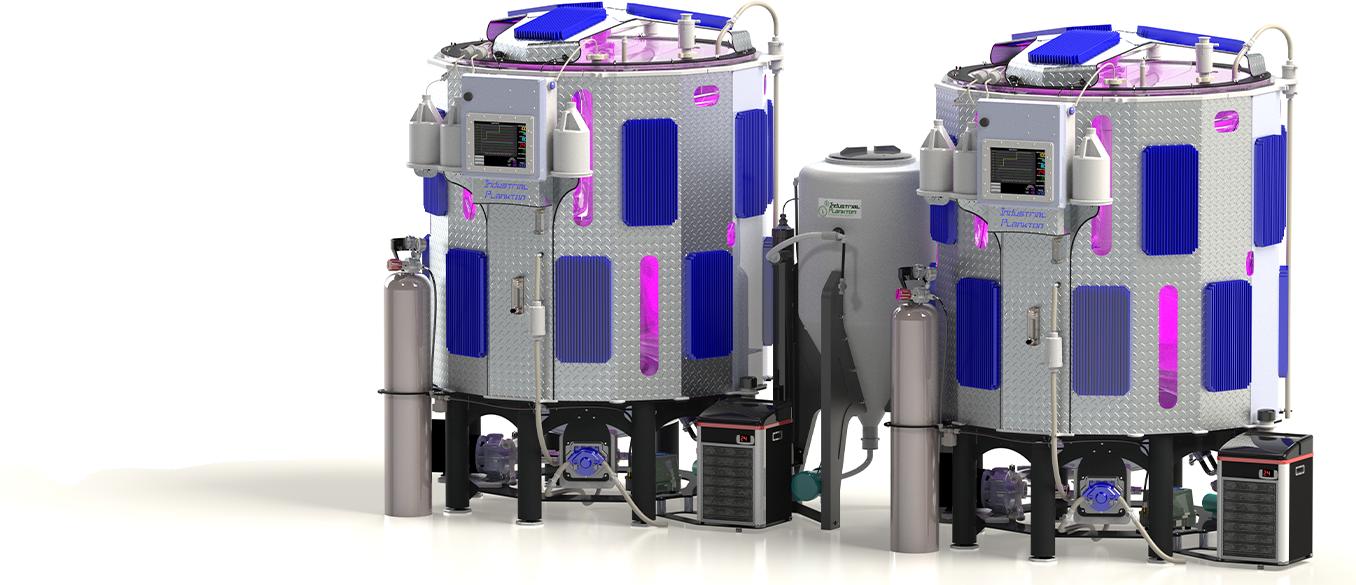 Dual tank photobioreactor by Industrial Plankton